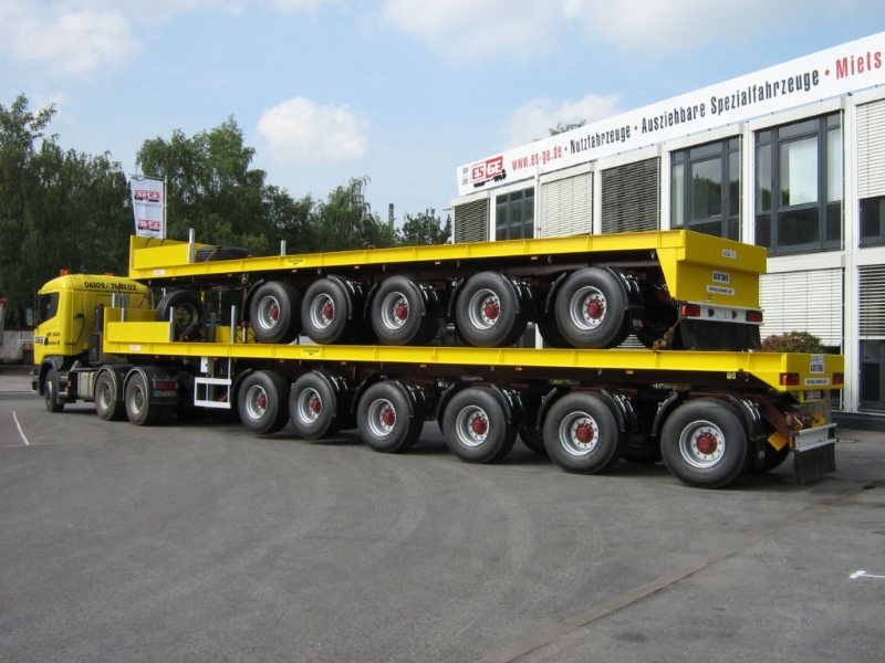 ballast semi-trailer yellow 6 and 5 axles